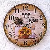 Lilienburg Wanduhr Vintage Küchenuhr Uhr grün braun gelb HOME