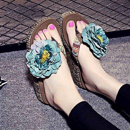 Estate Sandali 4.5cm pistoni spessi di estate Pattini handmade della spiaggia in rilievo Pistoni semplici antisdrucciolevoli con 12 generi di colori Colore / formato facoltativo #1
