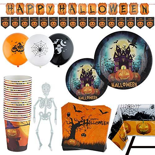 Set de Accesorios Decorativos para Halloween – Vajilla de 99 Piezas – Artículos de Menaje para Fiesta de Disfraces – Apoyo de Decoración – Platos, Vasos, Servilletas, Mantel, Globos, Guirnalda – 20 Invitados