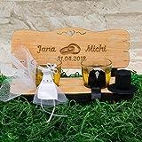 Hochzeitsbank mit Schnapsgläsern mit Gravur Ringe I Hochzeitsgeschenke für Brautpaare - personalisiertes Geschenk zur Hochzeit - Geschenke zum Hochzeitstag - 3