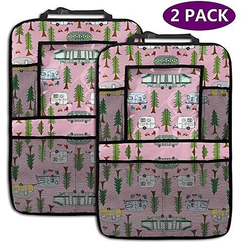 Astridh Happy Camper Camp Van In Pink (1) 2er-Packung Universal Fit Auto-Rückenlehnen-Organizer-Rückenlehnenschutz