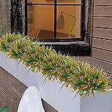 MIHOUNION 4 Stück Künstliche Sträucher Kunststoff Kunstblumen Orange Gypsophila Künstlich Plastikblumen Kunstpflanzen Arrangement Home Garten Büro Veranda Deko - 6
