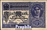 Deutsches Reich Rosenbg: 54c, 8stellige Kontrollnummer, Vs. grauviolett 1917 5 Mark (Banknoten für Sammler)