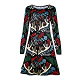 YWLINK Damen Weihnachten Mini Dress Casual Weihnachten Kleid Damen Langarm Cocktailkleid Rockabilly