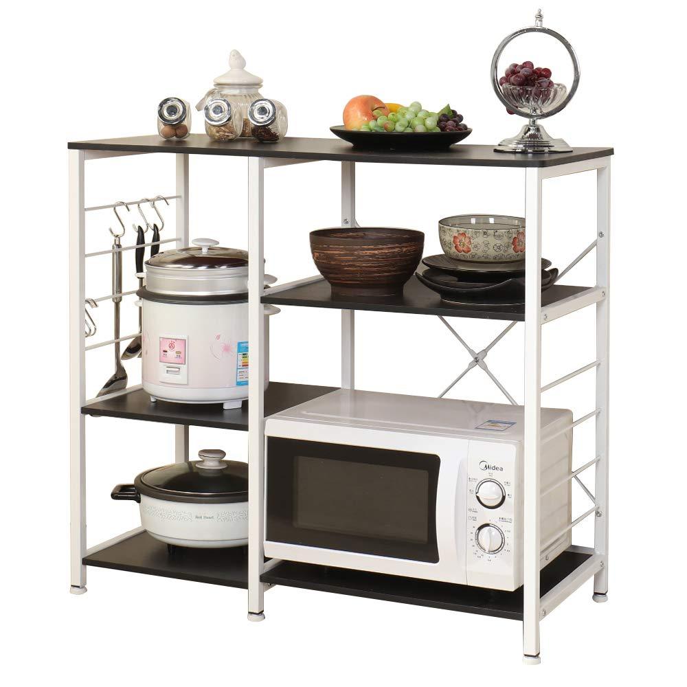 sogesfurniture Scaffale per Cucina in Acciaio Legno, 3 Ripiani Baker\'s Rack  Supporto per Forno a microonde Storage Organizer, Nero 171-BK-BH | CasaMe