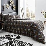 Happy Linen Company Bettwäscheset für Doppelbett, afrikanisches / marokkanisches / aztekisches / Masai-Design, Baumwollmischung, Schwarz , Einzelbett