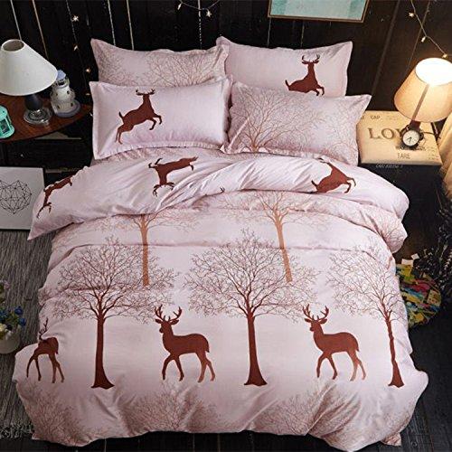 Dmmash set biancheria da letto set biancheria da letto con stampa renna di 3 (copripiumino + kit federa),king