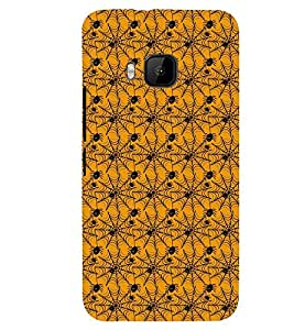 Printvisa Yellow and Black Spider Web Pattern Back Case Cover for HTC One M9::HTC M9::HTC One Hima