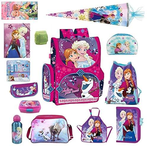 Disney die Eiskönigin Schulranzen Set 21tlg. Sporttasche Schultüte 85cm Regen/Sicherheitshülle von Familando PL14 Frozen