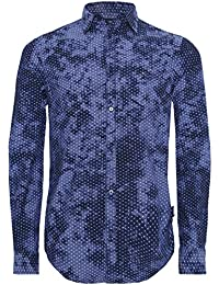 Armani Jeans Men's MICRO ajustement régulier Star chemise Bleu
