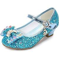 Lazzon Principessa Scarpe Ragazza Ballerine Scarpe con Tacco Bambina Scarpe con Paillettes per Cosplay Festa Carnevale