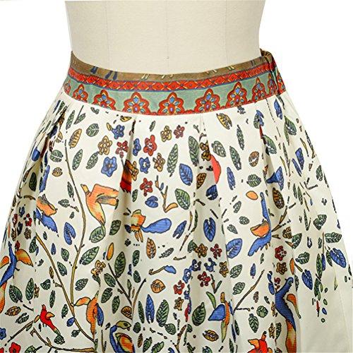 Uideazone Mode für Frauen Blumen A-Linie mit hoher Taille gefaltetes volles Maxi Rock Style-16