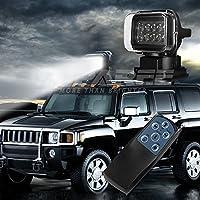 LED de luz de búsqueda, 12V 10x5W LED portátil rotatorio noche de trabajo Spot Light luz de respaldo con control remoto, Base de imán para Hummer Jeep Off-Road Camiones Barco de seguridad para el hogar de emergencia de iluminación negro