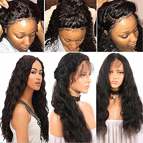 Fureya Hair 8A Unprocessed Brazilian Free Part Fashion Water Wave Glueless Perruque Cheveux Humain Lace Wigs for Black Women 130% Density Lace Front Wigs with Baby Hair(26 inch,1B)