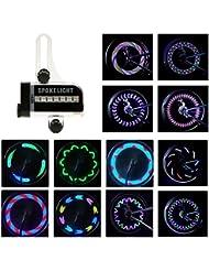 BestFire Luces brillantes de la rueda de la bici 14LED impermeable (lados dobles) luz del rayo para la noche que monta 30 diversos patrones cambian