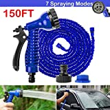 Expandable Garden Water Hose Pipe 150FT with 7 Patterns Spray Gun Flexible Anti-leakage Watering Equipment for Gardening, Washing Car, Cleaning Windows Floor, 1 Year Warranty (Blue)