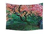 giapponese Decor arazzo da parete invecchiato rosso foglia d' acero con muschio Asian Garden paesaggio nella natura autunno erba rilassamento in camera da letto salotto Dorm Decor verde, Multi, 80W By 59L Inch