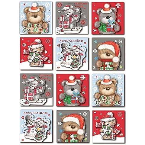 24Orsetto Natale Tag etichetta adesiva Glitter Natale