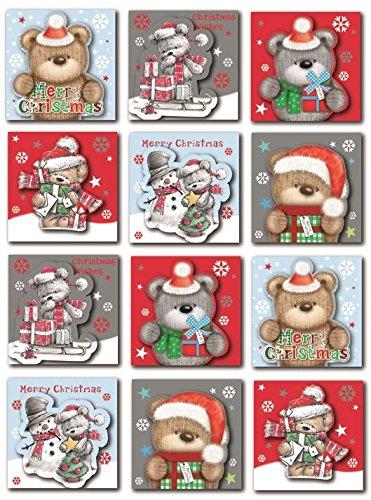 24süße Bär Weihnachten Tag Selbstklebende Glitzer Aufkleber Label Weihnachts Craft Dekoration -