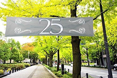 Folat Banner 25 Silberne Hochzeit Party-Deko Silber-Weiss 180x40cm EIN (Banner Große Hochzeit)