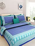 Ealth Kart 144 TC 100% Cotton Rajasthani Jaipuri Double Bedsheet with 2 Pillow