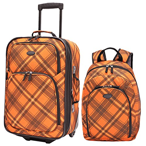 us-traveler-contrast-plaid-2-piece-luggage-set-pink-one-size