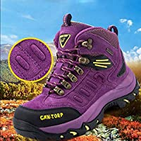 Zapatos de Pareja, Zapatos de Senderismo, Zapatos de Mujer, Zapatos de Algodón Cálido de Alta Protección de Invierno, Zapatos de Exterior, Zapatos de Caminar Antideslizantes a Prueba de Agua,púrpura,40 QLX