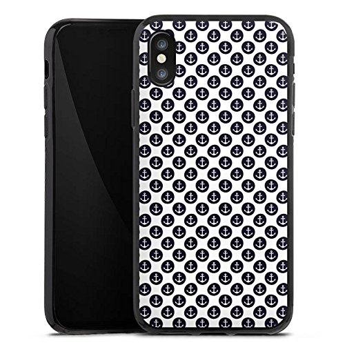 Apple iPhone X Silikon Hülle Case Schutzhülle Anker Muster Anchor Matrose Silikon Case schwarz