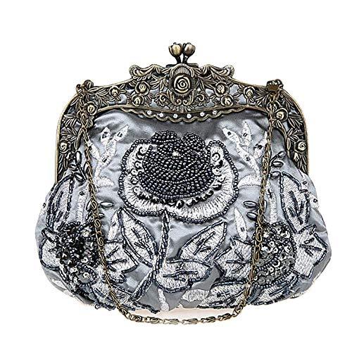 DA BODAN Vintage Clutch Floral Perlen Stickerei Clutch Pailletten Hochzeit Party Prom Bag Bridal Damen Crossbody Abend Handtasche (Grau) -