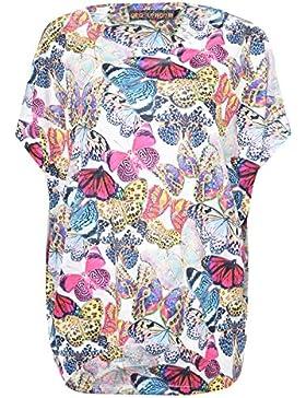 QED - para mujer camisa de manga corta - diseño de mariposas - diseño de tamaño maxi - funda interior de viscosa...