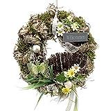 Türkranz rund mit Vogel Willkommen natur ø 28 cm - Frühling - Sommer - Herbst - Willkommensgruß 773