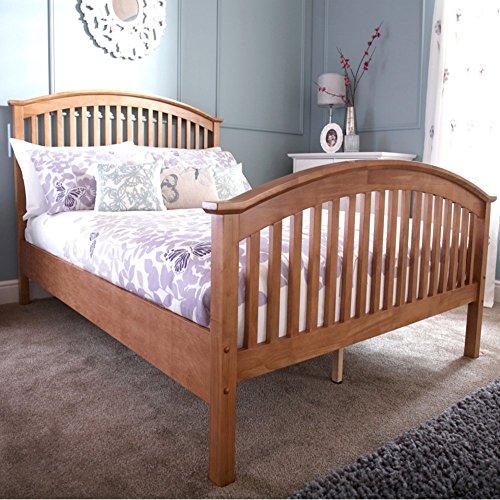 Mina High Foot Wooden Bedframe (5ft Kingsize, Oak)