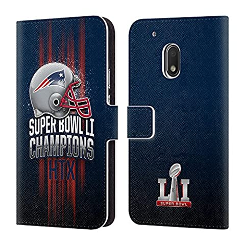 Official NFL New England Patriots 1 2017 Super Bowl Li Champion Leather Book Wallet Case Cover For Motorola Moto G4 Play