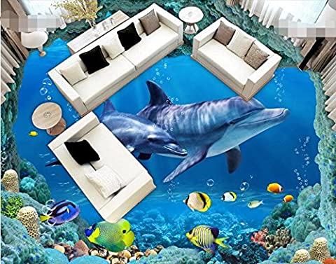 Lwcx 3D Wallpaper Custom Waterproof 3D Flooring Pvc Sea World Dolphin Of 3D Flooring Wallpaper Photo 3D Wall Murals Wallpaper 100X100CM
