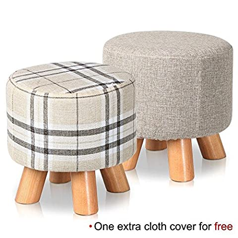 Popamazing Round Upholstered Footstools 4 Wood Leg Pouffes Ottomans Chair Stool Fabric Cover