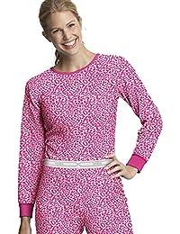 Hanes Women's X-Temp153; Thermal Printed Crew_Pink Leopard