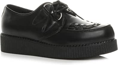Ajvani Mens Flat Wedge Platform lace up Goth Punk Rockabilly Brothel Creepers Shoes Boots Size.
