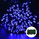 lederTEK Superbright Battery Powered Fairy String Lights at 200 LED 52.5ft with Auto Timer and 8 Lighting Modes, Waterproof Christmas Decorative Lamps for Outdoor, Garden, Home, Wedding, Xmas Tree New Year Party (200 LED Blue)