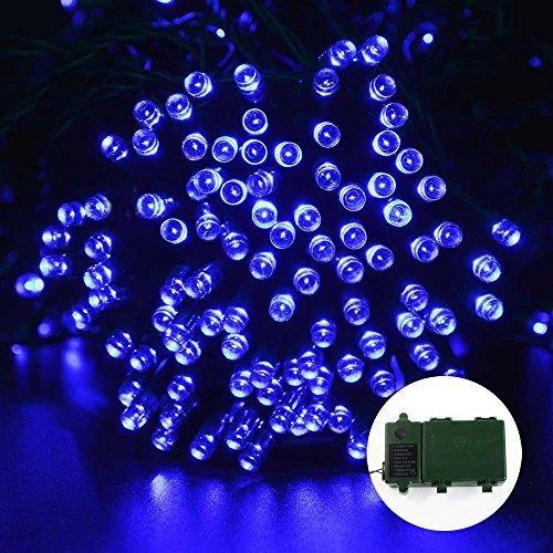 lederTEK guirlande lumineuse à pile 15.7m 200 LED avec minuterie automatique et 8 modes d'éclairage, lumière décorative imperméable idéal pour l'extérieur, intérieur, jardin, maison, mariage, arbre de Noël, Fête (Bleu)