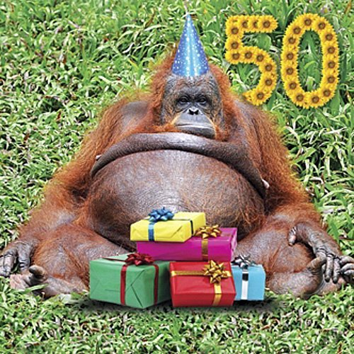 Funny Orangutan 50th Birthday Greeting Card