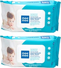 Mee Mee Gentle Hand and Mouth Baby Wipes (72 pcs/Pack) (Pack of 2)