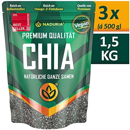 NADURIA Premium Chia Samen (Schwarz) – 1,5kg (3 x 500g) – Reich an Ballaststoffen & OMEGA-3-Fettsäuren – inkl. wiederverschließbarer Verpackung!