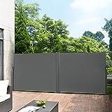 Pro tec [Pro.Tec]®Doppelte Seitenmarkise - 160 x (2 x 300) cm Grau Sichtschutz Markise Sonnen- & Windschutz