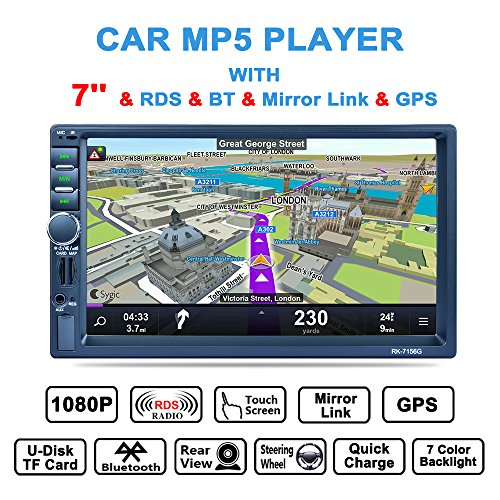 LSLYA Bluetooth Car Radio, Auto Radio Double 2 Din Voiture Écran Stéréo Bluetooth 7 '' Navigation GPS Tactile MP5/TF/SD/USB/Media Player Contrôle de Volant/Tuner FM/AM/RDS et HD Radio, Noir
