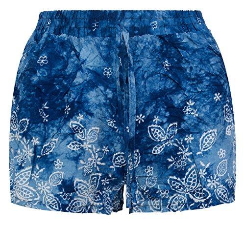 Damen Harem Shorts Sommer Shorts Azteken Hose Rock kurz Beach Short D-326 Blau-C11