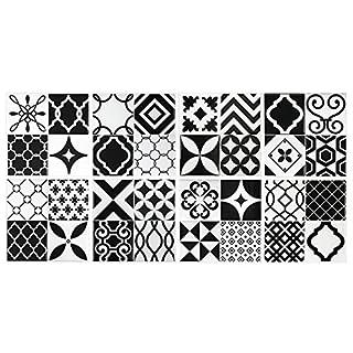 Fliesenaufkleber (Gel O – patentierte Technologie), 23x23cm, Vintage, Schwarz und Weiß