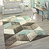 Paco Home Designer Teppich Modern Konturenschnitt Pastellfarben Geometrische Formen In Türkis, Grösse:60x110 cm
