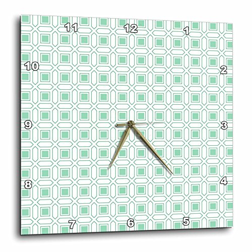 3dRose White and Mint Green Modern Mosaic Pattern Wall Clock, Aluminum, Multi-Colour, 13 x 13-Inch