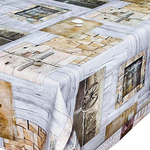 Tovaglia in tela cerata, lavabile, motivo chiavi e legno, dimensioni variabili, plastica, bunt, 180 x 140cm