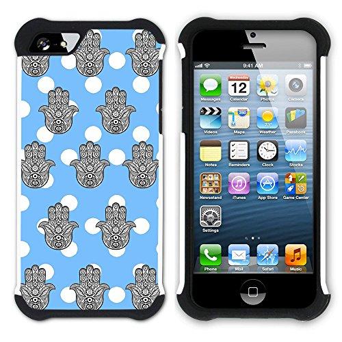 Graphic4You Monogramm Hamsa Hand der Fatima Punktmuster Tupfen Muster (Wasserblau) Hart + Weiche Kratzfeste Hülle Case Schale Tasche Schutzhülle für Apple iPhone SE / 5 / 5S Babyblau